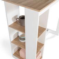 Table de bar Barth 2 à 4 personnes ajourée bois blanc plateau façon hêtre