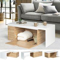 Table basse rotative bois et blanc 360° LIZZI extensible avec coffre