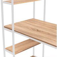 Bureau bibliothèque DETROIT design industriel bois et métal blanc