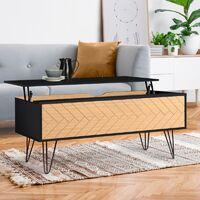Table basse plateau relevable vintage LEONI motifs graphiques