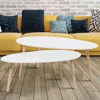 Lot de 2 tables basses gigognes GIGI laquées blanc scandinave