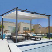 Pergola toit rétractable beige 3x4m tonnelle 4 pieds