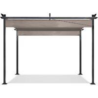 Pergola toit rétractable taupe 3x4m tonnelle 4 pieds