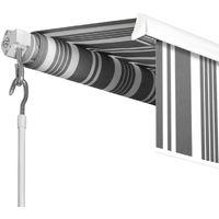 Store banne manuel 2,95 m x 2 m rayé gris blanc