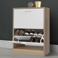 Meuble à chaussures imitation hêtre 2 portes blanches