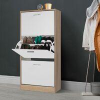Meuble à chaussures imitation hêtre 3 portes blanches