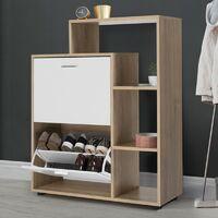 Meuble à chaussures imitation hêtre 2 portes blanches avec étagère