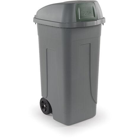 Bidone raccolta differenziata 100 litri con ruote - Fondo grigio e Coperchio a campana con sportello basculante verde - Mobil Plastic
