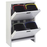 Mobiletto ECO AIR 100/4 in metallo per raccolta differenziata a 2 cassetti con apertura basculante con 4 secchi da 20 litri - Mobil Plastic