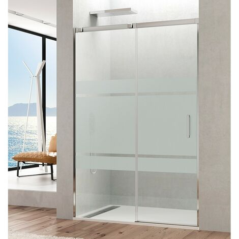 Mampara de ducha frontal TEMPLE fijo + puerta corredera Cristal: Frost Medida 1: 95-100