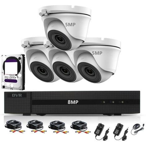 HIZONE PRO 8MP CCTV KIT SECURITY SYSTEM 4K DVR 8CH H.265+ &4X5MP WHITE ULTRA HD METAL HOUSING IP66 WATERPROOF INDOOR OUTDOOR DOME CAMERAS 20M NIGHT VISION P2P REMOTE VIEW (3TB HDD PRE-INSTALLED)