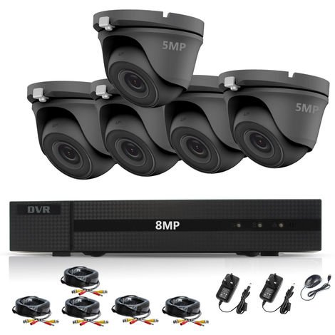 HIZONE PRO 8MP CCTV KIT SECURITY SYSTEM 4K DVR 8CH+& 5X5MP FULL HD METAL HOUSING WATERPROOF IN/OUTDOOR DOME CAMERAS 20M NIGHTVISION P2P MOTION DETECTION EMAIL ALERT REMOTE VIEW (NO HDD PRE-INSTALLED)