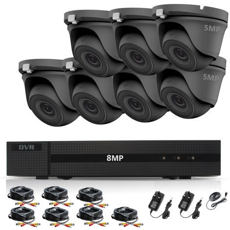 HIZONE PRO 8MP CCTV KIT SECURITY SYSTEM 4K DVR 8CH+&7X 5MP FULL HD METAL HOUSING WATERPROOF IN/OUTDOOR DOME CAMERAS 20M NIGHTVISION P2P MOTION DETECTION EMAIL ALERT REMOTE VIEW (NO HDD PRE-INSTALLED)