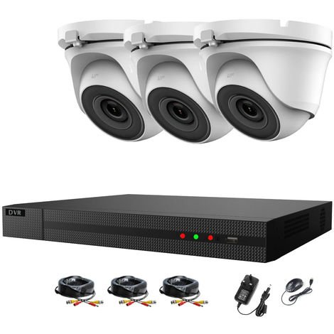 Hizone Pro 4CH CCTV KIT DVR 1080P & 3 x 2.0MP Full HD 1080P 2.8mm White Dome CCTV Cameras IR 20M Night Vision 1080P Output, Motion Detection, Mobile App Hik-Connect, Email Alert, P2P, Day/Night Vision (NO HDD pre-installed)