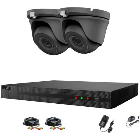 Hizone Pro 4CH CCTV KIT DVR 1080P & 2 x 2.0MP Full HD 1080P 2.8mm Gray Dome CCTV Cameras IR 20M Night Vision 1080P Output, Motion Detection, Hik-Connect, Email Alert, P2P, 20M IR Distance, Night Vision (NO HDD pre-installed)