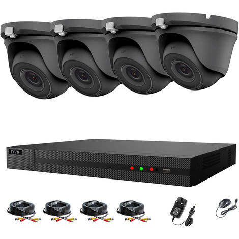 Hizone Pro 4CH CCTV KIT DVR 1080P & 4 x 2.0MP Full HD 1080P 2.8mm Gray Dome CCTV Cameras IR 20M Night Vision 1080P Output, Motion Detection, Hik-Connect, Email Alert, P2P, 20M IR Distance, Night Vision (NO HDD pre-installed)