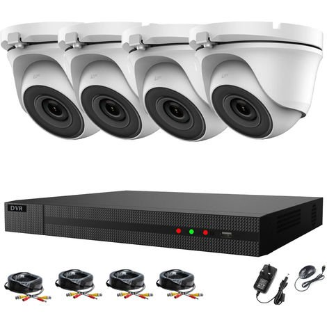Hizone Pro 8CH CCTV KIT DVR 1080P & 4 x 2.0MP Full HD 1080P 2.8mm White Dome CCTV Cameras IR 20M Night Vision 1080P Output, Motion Detection, Hik-Connect, Email Alert, P2P, 20M IR Distance, Night Vision (NO HDD pre-installed)