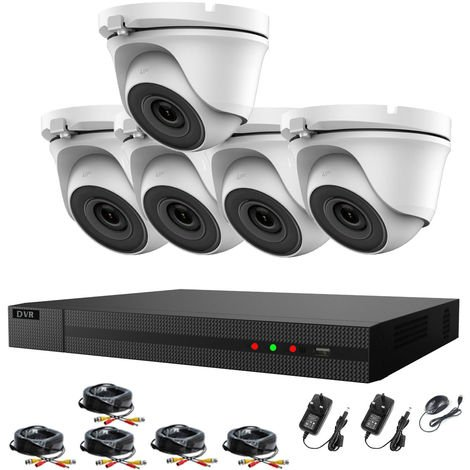 Hizone Pro 8CH CCTV KIT DVR 1080P & 5 x 2.0MP Full HD 1080P 2.8mm White Dome CCTV Cameras IR 20M Night Vision 1080P Output, Motion Detection, Hik-Connect, Email Alert, P2P, 20M IR Distance, Night Vision (NO HDD pre-installed)