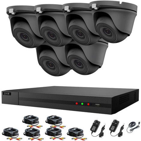 Hizone Pro 8CH CCTV KIT DVR 1080P & 6 x 2.0MP Full HD 1080P 2.8mm Wide Angle Dome CCTV Cameras IR 20M Night Vision 1080P Output, Motion Detection, Hik-Connect, Email Alert, P2P, 20M IR Distance, Night Vision (NO HDD pre-installed)