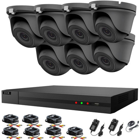 Hizone Pro 8CH CCTV KIT DVR 1080P & 7 x 2.0MP Full HD 1080P 2.8mm Wide Angle Dome CCTV Cameras IR 20M Night Vision 1080P Output, Motion Detection, Hik-Connect, Email Alert, P2P, 20M IR Distance, Night Vision (NO HDD pre-installed)