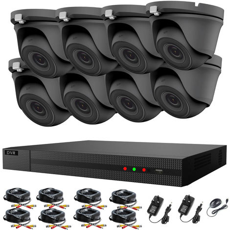 Hizone Pro 8CH CCTV KIT DVR 1080P & 8 x 2.0MP Full HD 1080P 2.8mm Wide Angle Dome CCTV Cameras IR 20M Night Vision 1080P Output, Motion Detection, Hik-Connect, Email Alert, P2P, 20M IR Distance, Night Vision (NO HDD pre-installed)