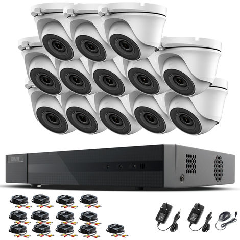 Hizone Pro 16CH CCTV KIT DVR 1080P & 13 x 2.0MP Full HD 1080P 2.8mm Wide Angle Dome CCTV Cameras IR 20M Night Vision 1080P Output, Motion Detection, Hik-Connect, Email Alert, P2P, 20M IR Distance, Night Vision (NO HDD pre-installed)
