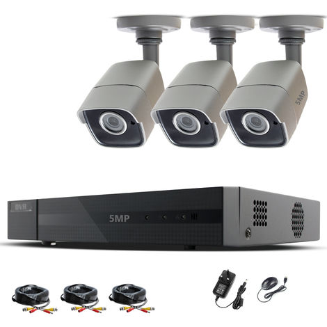 HIZONE PRO 5MP CCTV KIT SECURITY SYSTEM 4K 4CH DVR & 3X 5MP FULL HD METAL HOUSING IP66 WATERPROOF INDOOR OUTDOOR GRAY BULLET CAMERAS 20M IR NIGHT VISION EASY P2P REMOTE VIEW MOTION DETECTION UK SELLER (NO HDD PRE-INSTALLED)