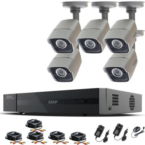 HIZONE PRO 8MP CCTV KIT SECURITY SYSTEM 4K 8CH DVR & 5 X 5MP FULL HD METAL HOUSING IP66 WATERPROOF INDOOR OUTDOOR GRAY BULLET 2.8mm WIDE ANGLE CAMERAS 20M IR NIGHT VISION EASY P2P REMOTE VIEW MOTION DETECTION UK SELLER- NO HDD PRE-INSTALLED