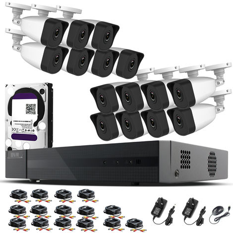 Hizone Pro Home CCTV Cameras System 16 Channel 1080P Surveillance DVR Kit and 15 x 2MP 3.6mm Outdoor Indoor White Bullet CCTV Cameras 1080P HD smart Security Camera system Motion Detection Email Alert P2P Free HIK-CONNECT APP (6TB HDD Pre-Installed)