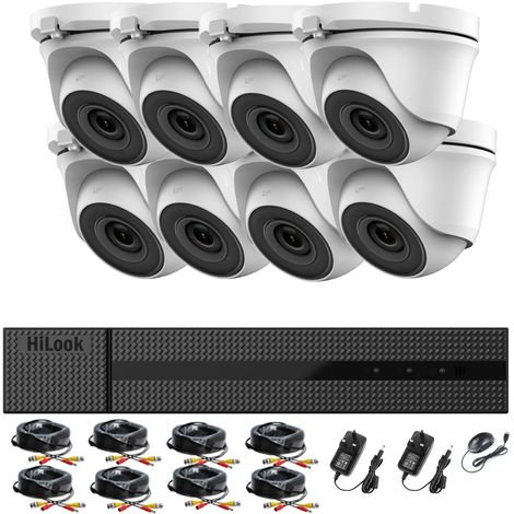 HIKVISION HILOOK 8CH CCTV KIT DVR 1080P & 8X 2.0MP FULL HD 1080P WHITE DOME CCTV CAMERAS IR 20M NIGHT VISION REMOTE VIEW EASY P2P SECURITY CAMERA SYSTEM (NO HDD PRE-INSTALLED)