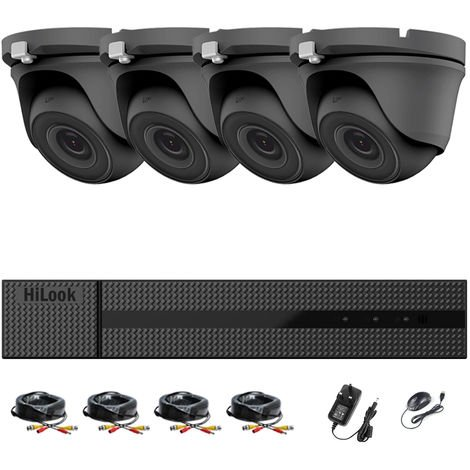 HIKVISION HILOOK 8CH FULL HD CCTV KIT DVR 1080P DVR-204G-F1 & 4 X 2.0MP FULL HD 1080P GREY DOME CAMERAS 20M NIGHT VISION REMOTE VIEW EASY P2P SECURITY CAMERA SYSTEM (NO HDD PRE-INSTALLED)