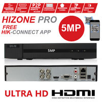 HIZONE PRO 5MP CCTV KIT SECURITY SYSTEM 4K DVR 4CH+&2X 5MP GRAY ULTRA HD METAL HOUSING IP66 WATERPROOF IN/OUTDOOR DOME CAMERAS 20M NIGHT VISION EASY P2P EMAIL ALERT REMOTE VIEW (1TB HDD PRE-INSTALLED)