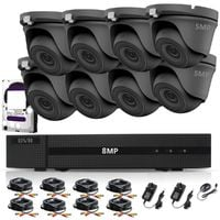 HIZONE PRO 8MP CCTV KIT SECURITY SYSTEM 4K DVR 8CH+&8X5MP FULL HD METAL HOUSING WATERPROOF IN/OUTDOOR DOME CAMERAS 20M NIGHT VISION P2P MOTION DETECTION EMAIL ALERT REMOTE VIEW (1TB HDD PRE-INSTALLED)