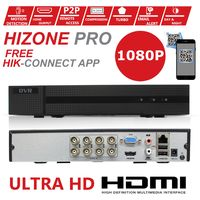 Hizone Pro 8CH CCTV KIT DVR 1080P & 8 x 2.0MP Full HD 1080P 2.8mm White Dome CCTV Cameras IR 20M Night Vision 1080P Output, Motion Detection, Hik-Connect, Email Alert, P2P, 20M IR Distance, Night Vision (NO HDD pre-installed)