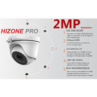 Hizone Pro 16CH CCTV KIT DVR 1080P & 9 x 2.0MP Full HD 1080P 2.8mm Wide Angle Dome CCTV Cameras IR 20M Night Vision 1080P Output, Motion Detection, Hik-Connect, Email Alert, P2P, 20M IR Distance, Night Vision (2TB HDD pre-installed)