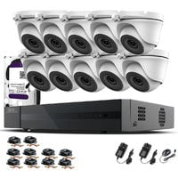 Hizone Pro 16CH CCTV KIT DVR 1080P & 10 x 2.0MP Full HD 1080P 2.8mm Wide Angle Dome CCTV Cameras IR 20M Night Vision 1080P Output, Motion Detection, Hik-Connect, Email Alert, P2P, 20M IR Distance, Night Vision (1TB HDD pre-installed)