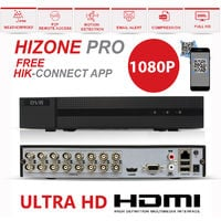 Hizone Pro 16CH CCTV KIT DVR 1080P & 10 x 2.0MP Full HD 1080P 2.8mm Wide Angle Dome CCTV Cameras IR 20M Night Vision 1080P Output, Motion Detection, Hik-Connect, Email Alert, P2P, 20M IR Distance, Night Vision (4TB HDD pre-installed)