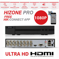 Hizone Pro 16CH CCTV KIT DVR 1080P & 11 x 2.0MP Full HD 1080P 2.8mm Wide Angle Dome CCTV Cameras IR 20M Night Vision 1080P Output, Motion Detection, Hik-Connect, Email Alert, P2P, 20M IR Distance, Night Vision (NO HDD pre-installed)