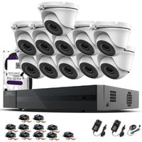 Hizone Pro 16CH CCTV KIT DVR 1080P & 11 x 2.0MP Full HD 1080P 2.8mm Wide Angle Dome CCTV Cameras IR 20M Night Vision 1080P Output, Motion Detection, Hik-Connect, Email Alert, P2P, 20M IR Distance, Night Vision (3TB HDD pre-installed)