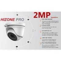 Hizone Pro 16CH CCTV KIT DVR 1080P & 13 x 2.0MP Full HD 1080P 2.8mm Wide Angle Dome CCTV Cameras IR 20M Night Vision 1080P Output, Motion Detection, Hik-Connect, Email Alert, P2P, 20M IR Distance, Night Vision (2TB HDD pre-installed)