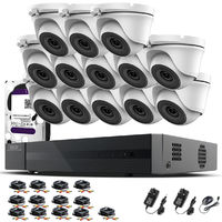 Hizone Pro 16CH CCTV KIT DVR 1080P & 13 x 2.0MP Full HD 1080P 2.8mm Wide Angle Dome CCTV Cameras IR 20M Night Vision 1080P Output, Motion Detection, Hik-Connect, Email Alert, P2P, 20M IR Distance, Night Vision (3TB HDD pre-installed)