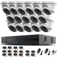 Hizone Pro 16CH CCTV KIT DVR 1080P & 16 x 2.0MP Full HD 1080P 2.8mm Wide Angle Dome CCTV Cameras IR 20M Night Vision 1080P Output, Motion Detection, Hik-Connect, Email Alert, P2P, 20M IR Distance, Night Vision (NO HDD pre-installed)