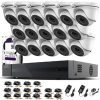 Hizone Pro 16CH CCTV KIT DVR 1080P & x 2.0MP Full HD 1080P 2.8mm Wide Angle Dome CCTV Cameras IR 20M Night Vision 1080P Output, Motion Detection, Hik-Connect, Email Alert, P2P, 20M IR Distance, Night Vision (2TB HDD pre-installed)