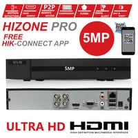 HIZONE PRO 5MP CCTV KIT SECURITY SYSTEM 4K 4CH DVR & 2X 5MP FULL HD METAL HOUSING IP66 WATERPROOF INDOOR OUTDOOR WHITE BULLET CAMERAS 20M IR NIGHT VISION EASY P2P REMOTE VIEW MOTION DETECTION UK SELLER (NO HDD PRE-INSTALLED)