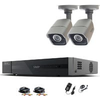 HIZONE PRO 5MP CCTV KIT SECURITY SYSTEM 4K 4CH DVR & 2X 5MP FULL HD METAL HOUSING IP66 WATERPROOF INDOOR OUTDOOR GRAY BULLET CAMERAS 20M IR NIGHT VISION EASY P2P REMOTE VIEW MOTION DETECTION UK SELLER (NO HDD PRE-INSTALLED)