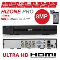 HIZONE PRO 8MP CCTV KIT SECURITY SYSTEM 4K 8CH DVR & 8 X 5MP FULL HD METAL HOUSING IP66 WATERPROOF INDOOR OUTDOOR WHITE BULLET 3.6mm CAMERAS 20M IR NIGHT VISION EASY P2P REMOTE VIEW MOTION DETECTION UK SELLER-NO HDD PRE-INSTALLED