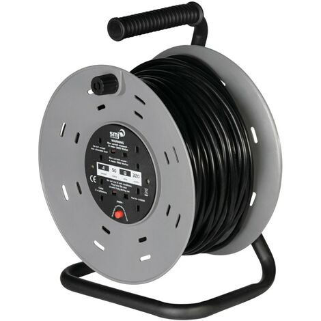 SMJ Cable Reel, 4-Socket, 13A, 50M, Thermal Cutout Protection