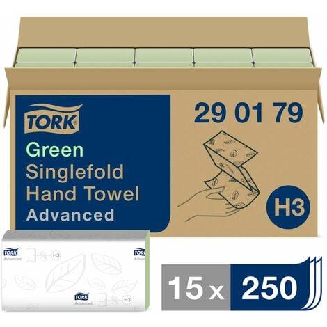 Tork Singlefold Paper Hand Towels Advanced H3, 2-Ply Green 290179 (PK15)