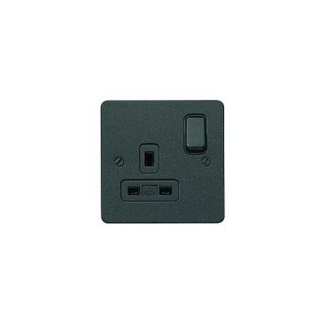 MK Electric K14357LBKB 13A 1G DP Dual Earth Switched Socket LBK Black Insert