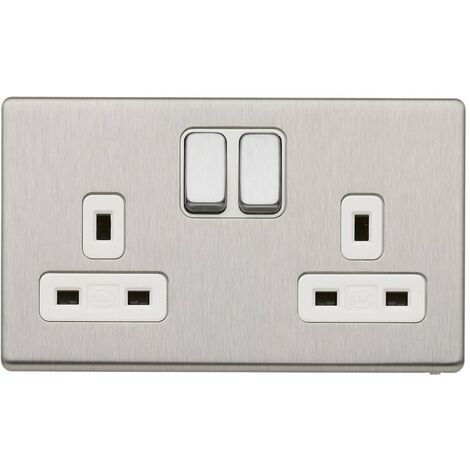 MK Electric Double Socket, with Dual Earth Switches, Brushed Stainless Steel